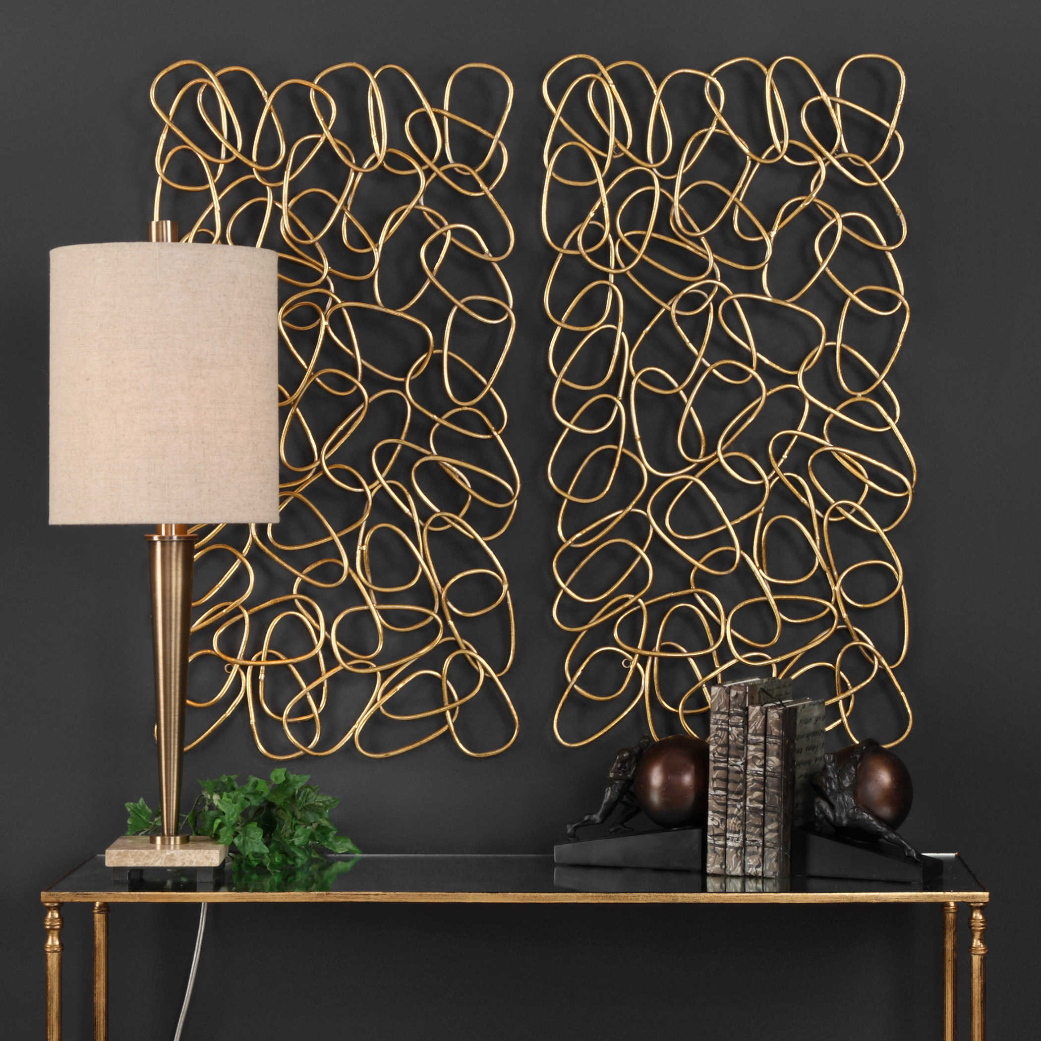 Wall Decor Silvers: Uttermost In The Loop Gold Wall Art S/2
