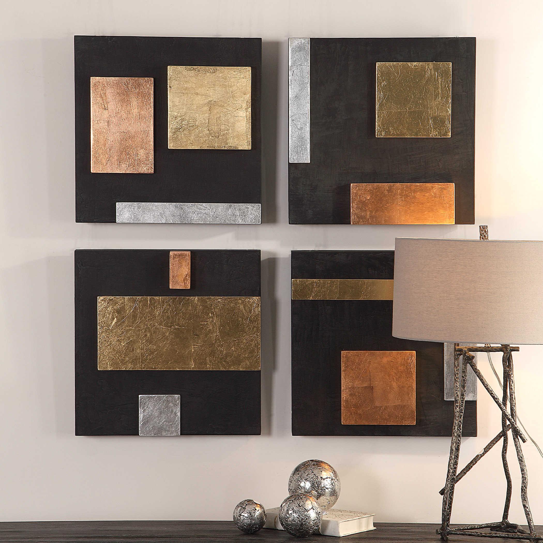 Mixed Metals Wood Wall Decor S 4