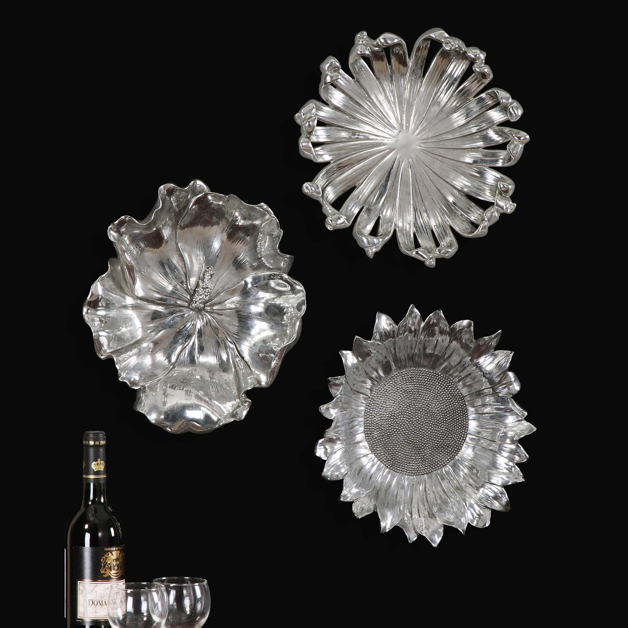Uttermost Silver Flowers Wall Art Set3