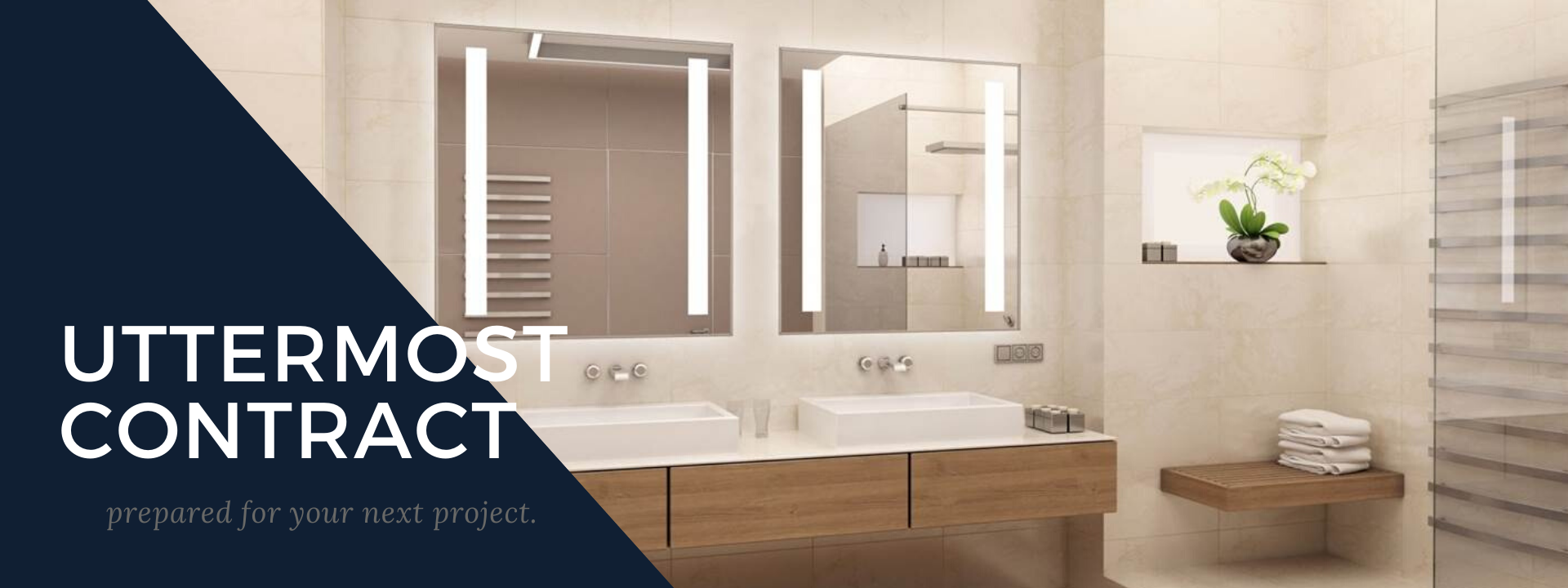 Uttermost Contract.  Prepared for your next project.  A backlit mirror is shown in a bathroom setting.