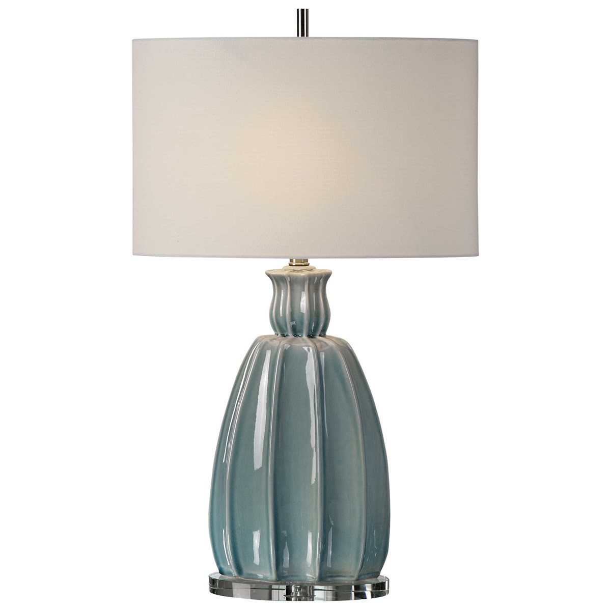 Uttermost Accessories Cayson Ribbed Ceramic Bottles S 2: Uttermost Suzanette Sky Blue Ceramic Lamp