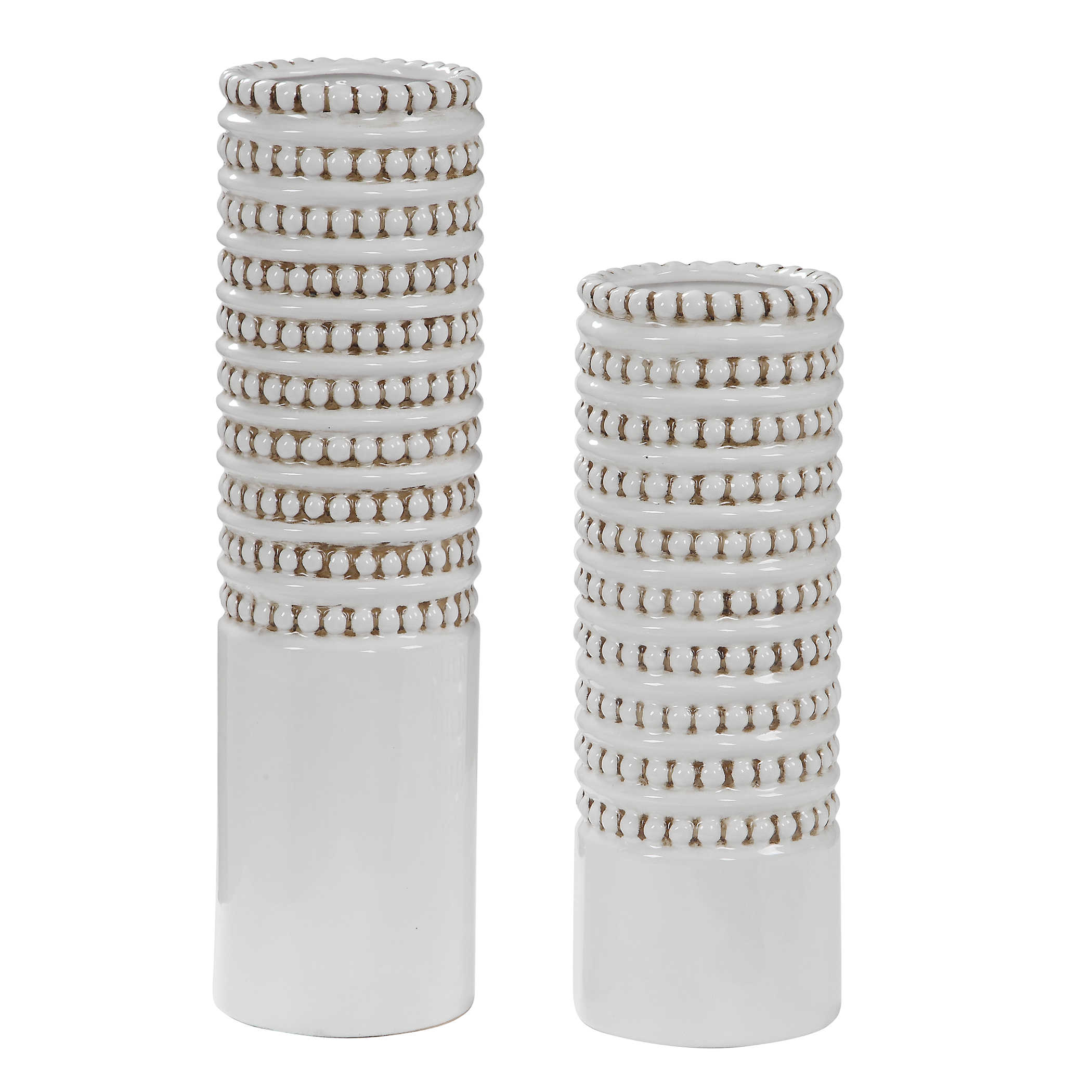 Uttermost Accessories Cayson Ribbed Ceramic Bottles S 2: Uttermost Angelou White Vases, Set/2
