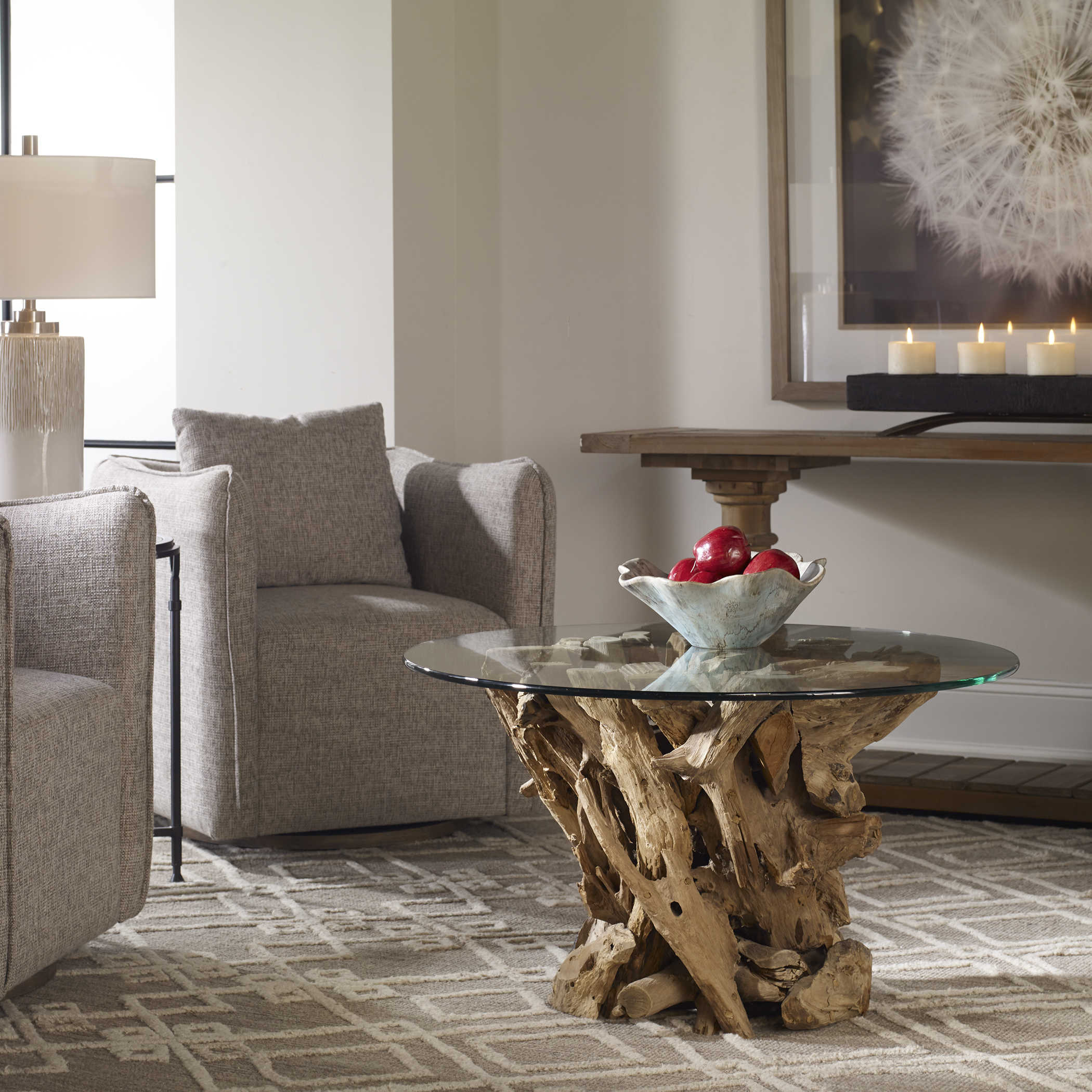 Tables Natural Teak Root Wood Bunching, Uttermost Dining Room Tables
