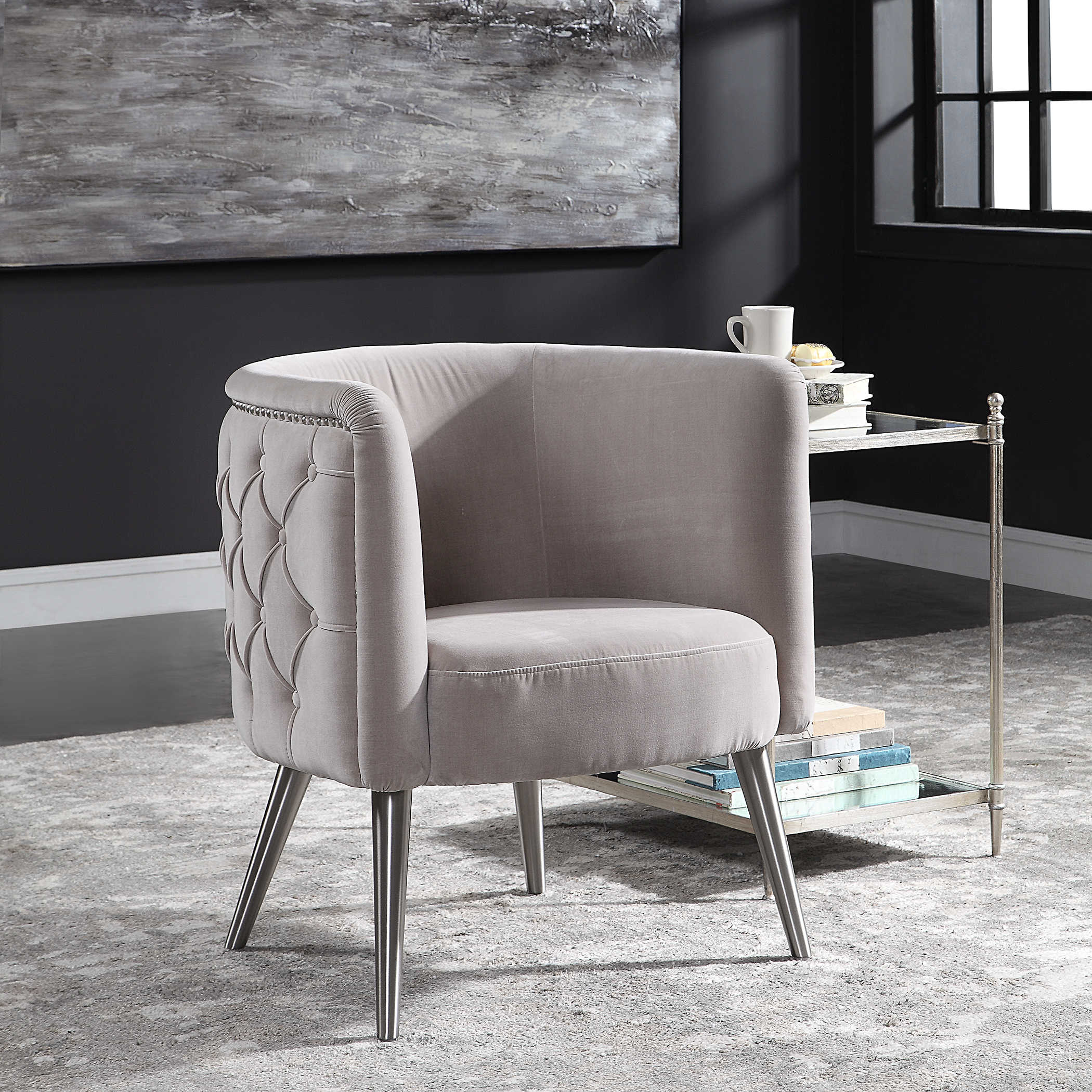 Champagne Army Metal Accent Chair: Uttermost Haider Tufted Accent Chair