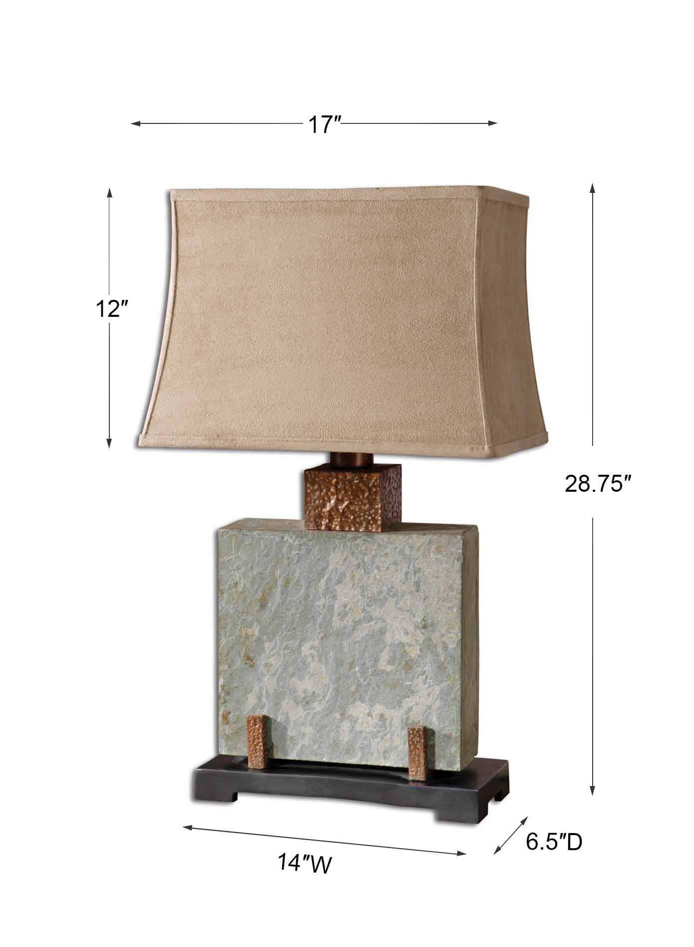 """Tall Slate and Hammered Copper Indoor//Outdoor Table Lamp 37/""""H by Uttermost 26308"""