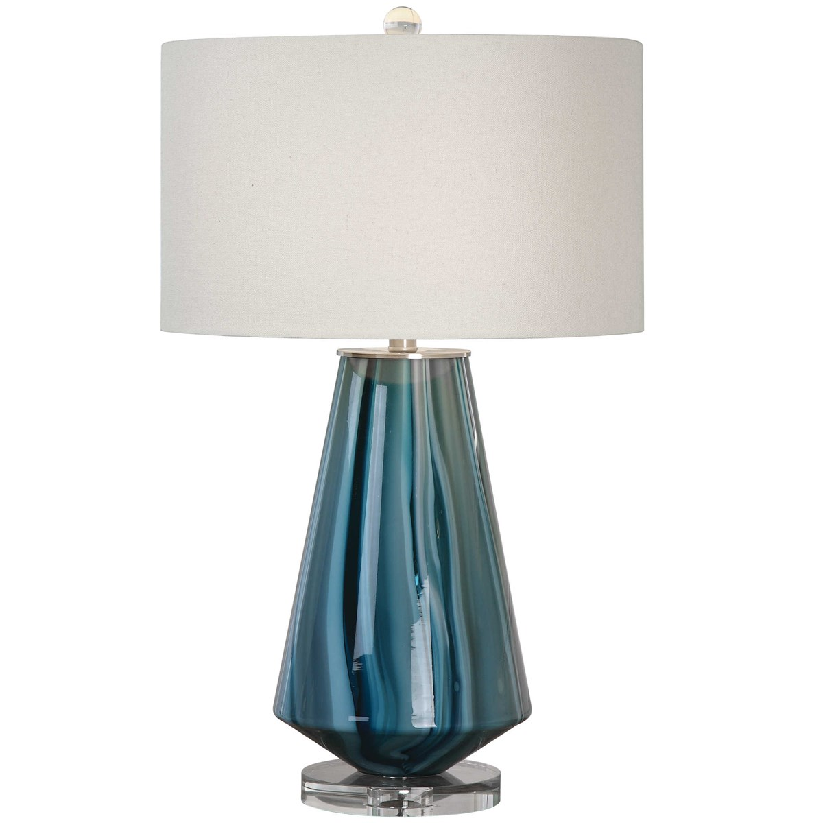 Uttermost Pescara Teal Gray Glass Lamp