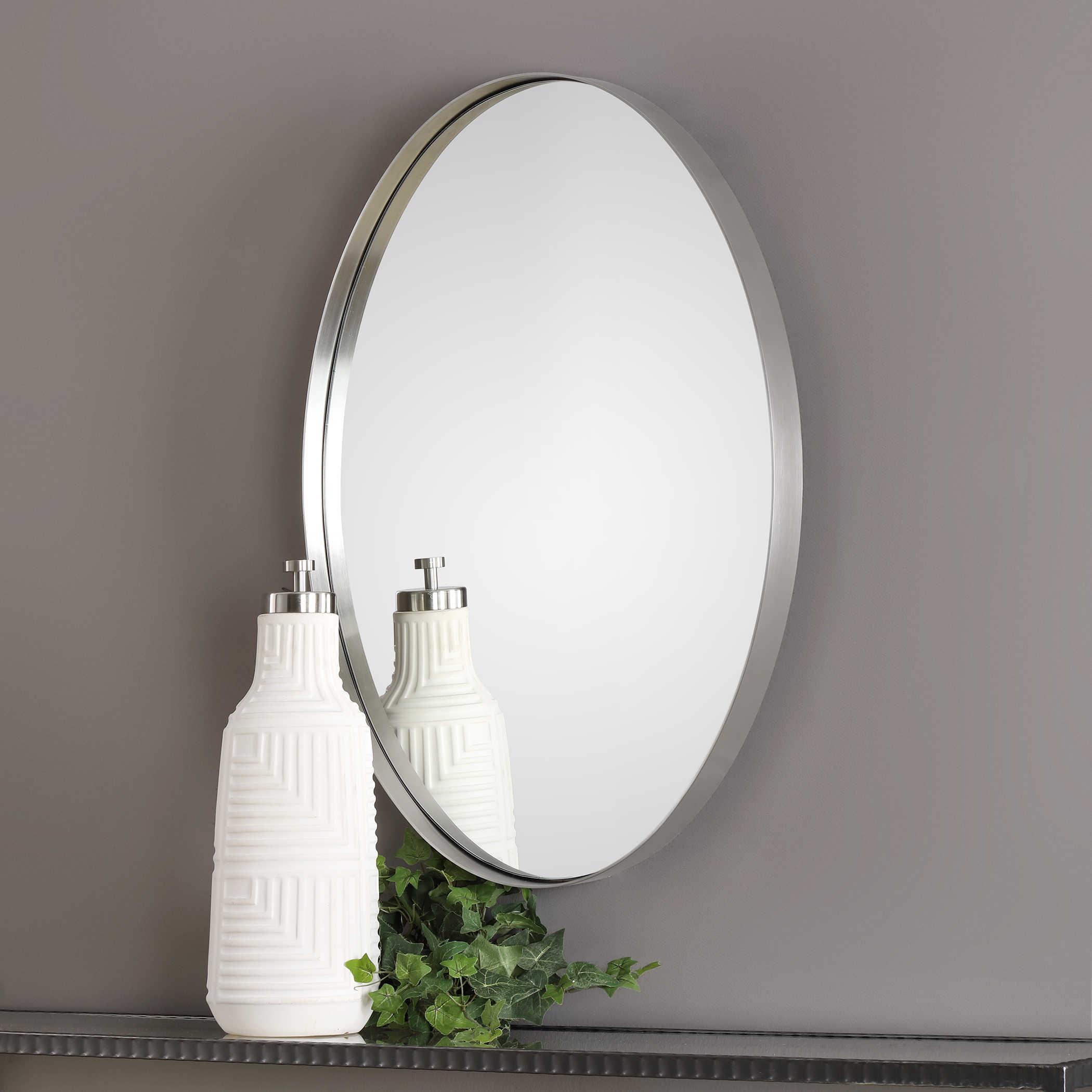 Pursley Brushed Nickel Oval Mirror Uttermost