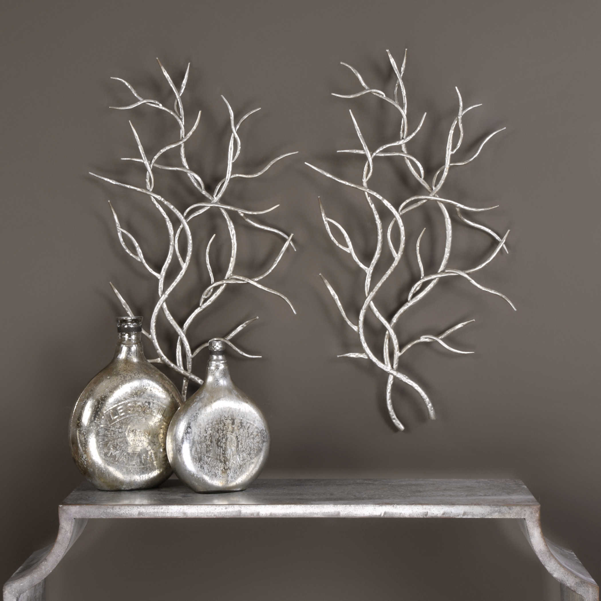 Silver Branches Metal Wall Decor S 2 Uttermost