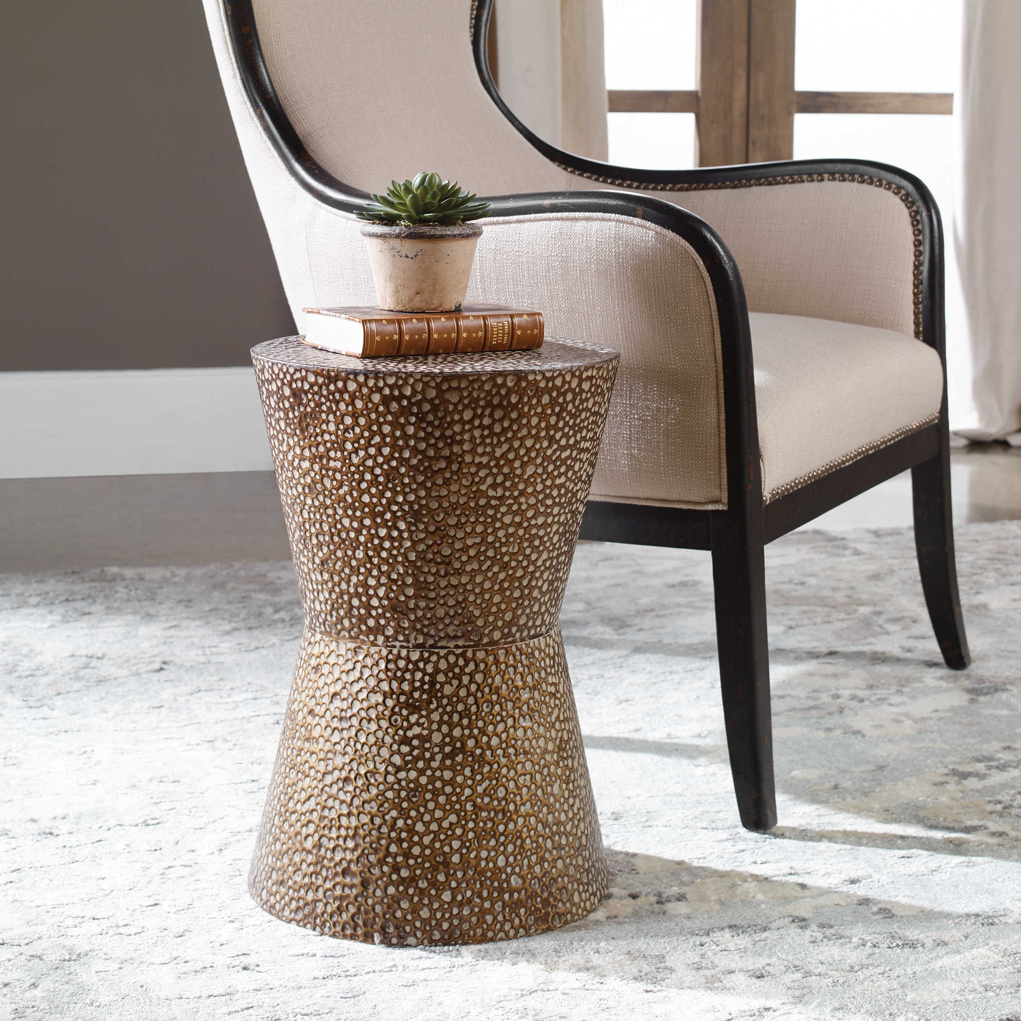 Drum Shaped Coffee Table.Uttermost Cutler Drum Shaped Accent Table