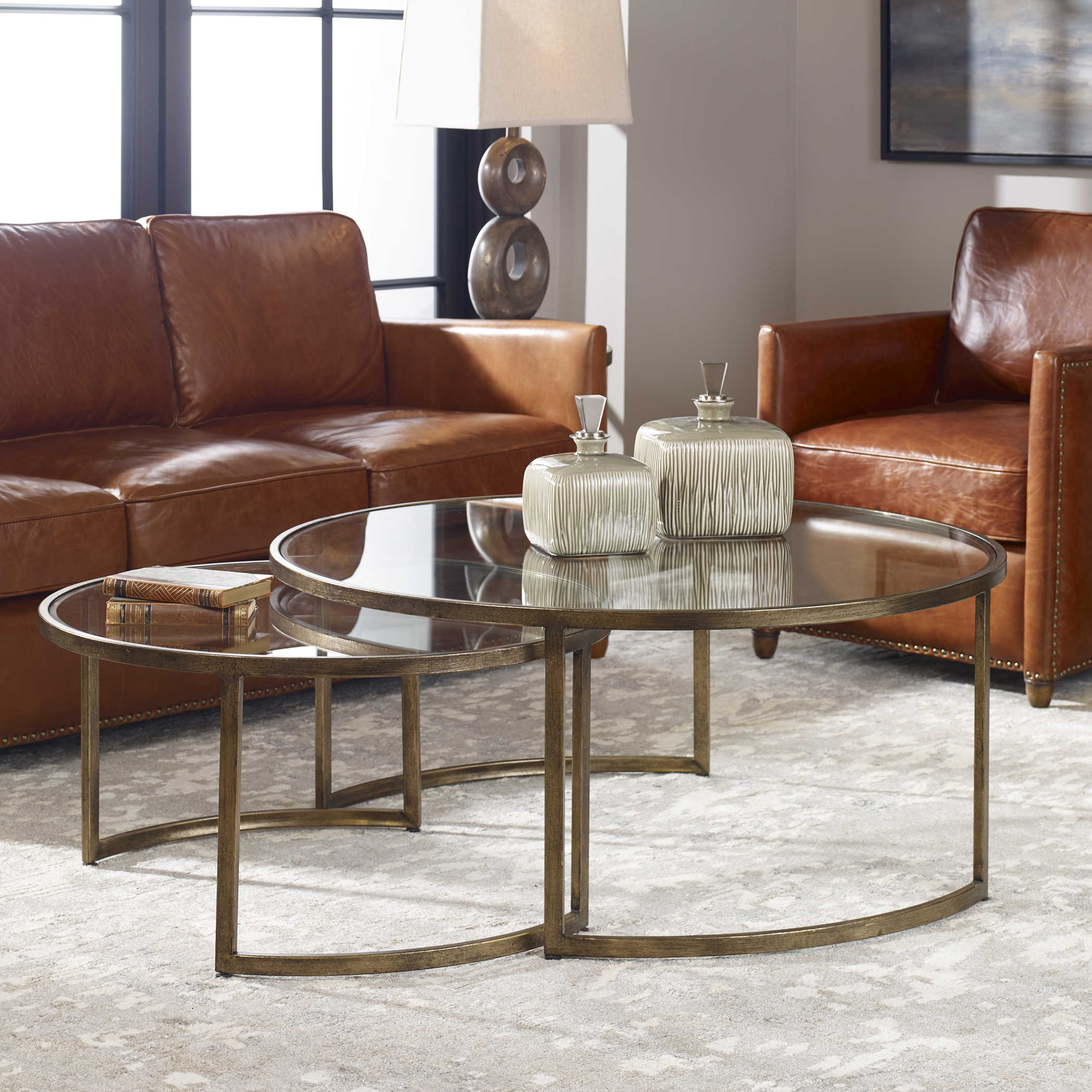 42 Coffee Table Antiqued Gold Leaf Finish Set of 2 Uttermost 24747 Rhea