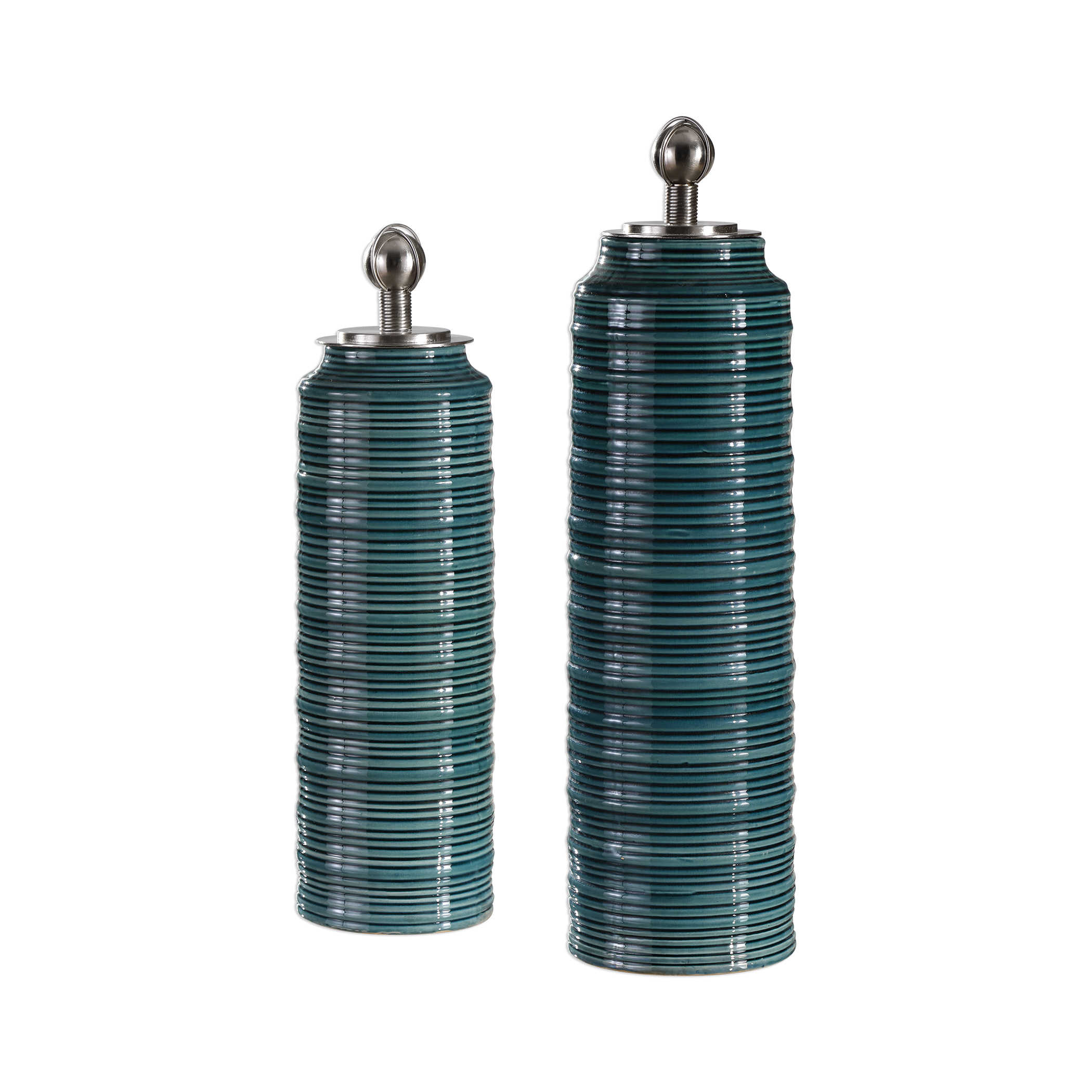 Uttermost Accessories Cayson Ribbed Ceramic Bottles S 2: Uttermost Delane Dark Teal Canisters S/2