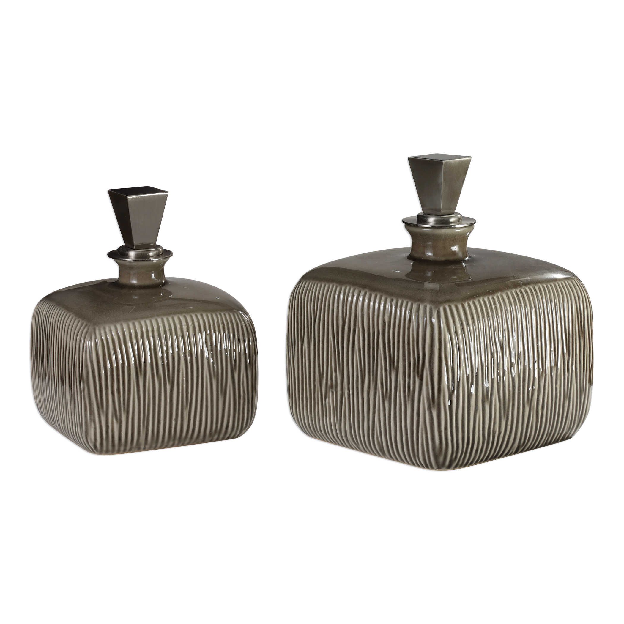 Uttermost Accessories Cayson Ribbed Ceramic Bottles S 2