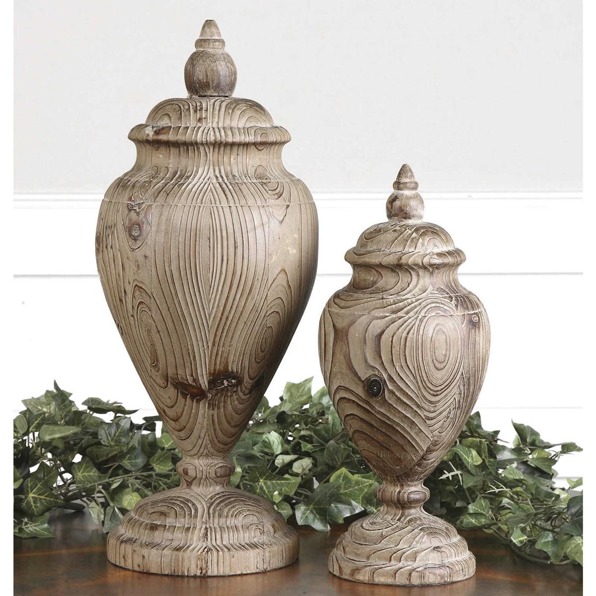 Uttermost Brisco Carved Wood Finials Set 2